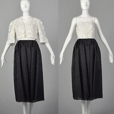 80s Dresses | Casual to Party Dresses M 1980s Black and White Strapless Dress Jacket Set Floral Lace Prom 80s VTG $178.50 AT vintagedancer.com
