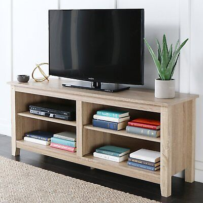 Walker Edison Furniture 58  Wood Tv Stand Storage Console In Natural  W58cspnt