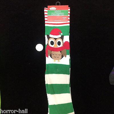 Funky Candy Stripes Owl Santa Elf Knee High Socks Holiday Christmas Stockings