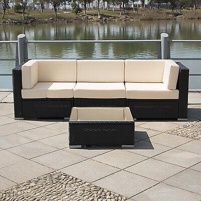 4PCS Outdoor Patio Furniture Set Cushioned Rattan Wicker Garden Lawn Sofa