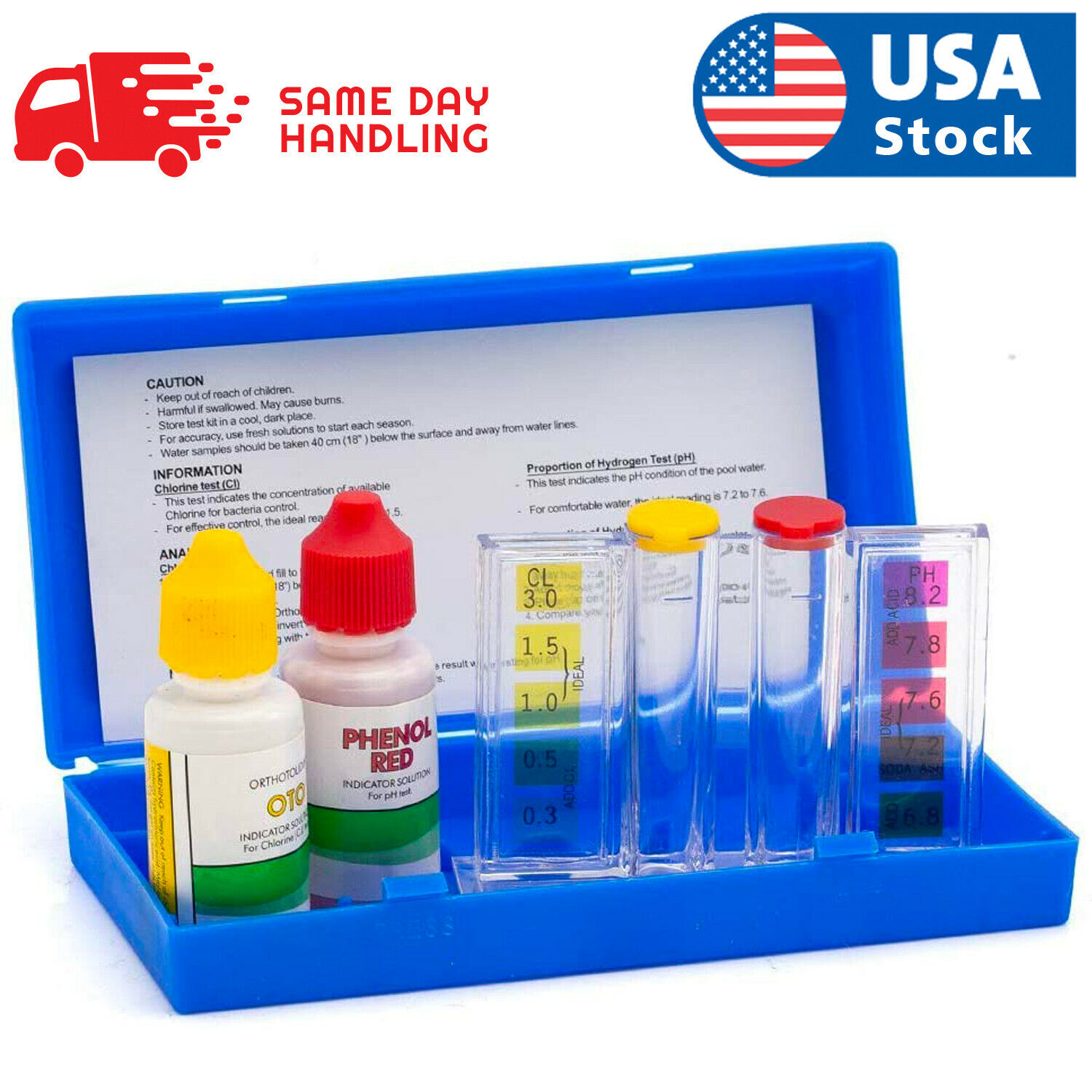 Swimming 2 Way Liquid Test Kit – Ph & Chlorine Levels For Swimming Pool Water Home & Garden