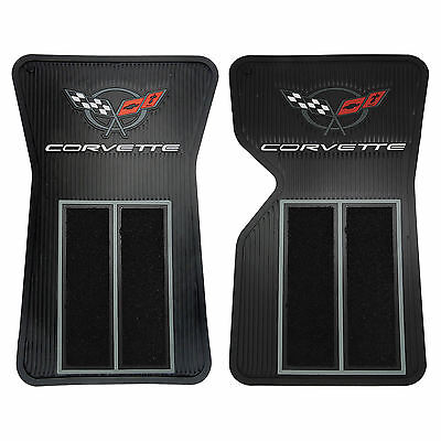 C3 68-82 BLACK RUBBER CORVETTE LOGO SEMI CARPET FRONT FLOOR MATS MADE IN USA
