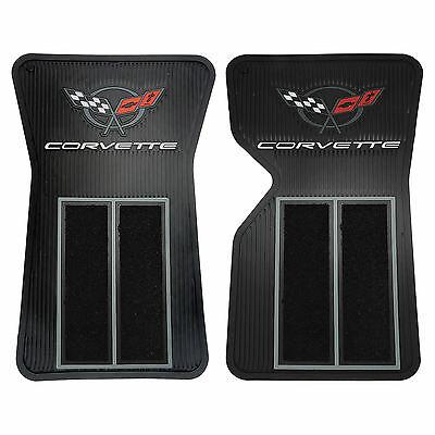 2 Front Floor Carpets (2 PIECE BLACK RUBBER SEMI CARPET FRONT FLOOR MATS FOR CORVETTE C3)