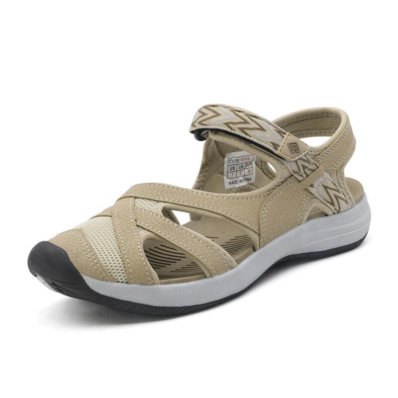 Womens Hiking Lightweight Sandals Sport Slides Outdoor Beach Shoes Size Beige US