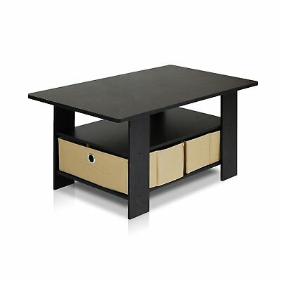 Petite Coffee Table with Foldable Bin Drawer, Multiple Color