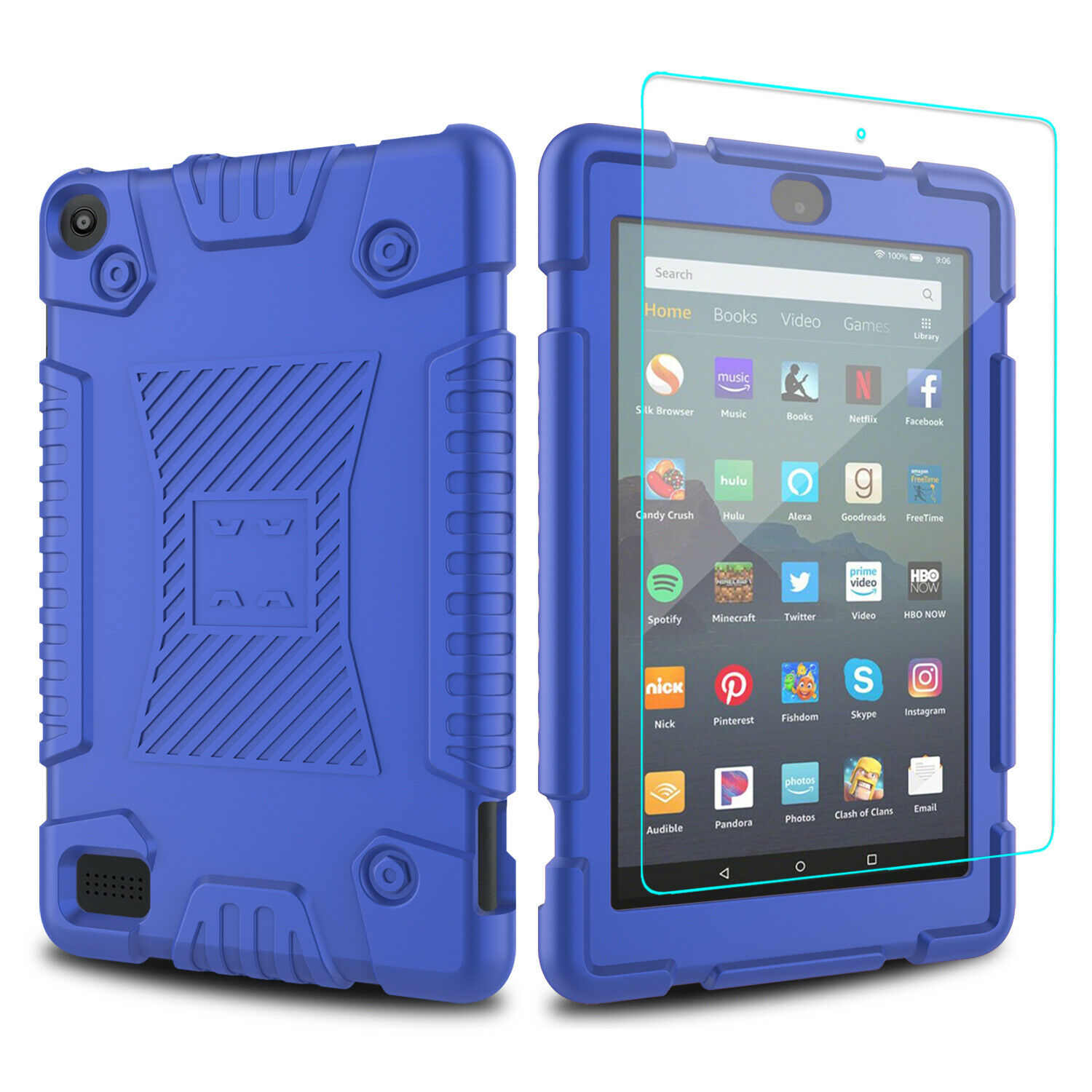 For Amazon Fire HD 7 2019/8 2018 8th/9th Gen Tablet Case Cover,Screen Protector Cases, Covers, Keyboard Folios