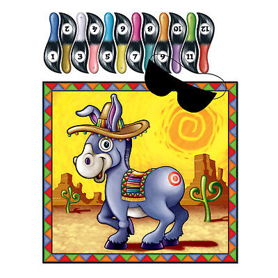 The Donkey Game (Birthday Party Game PIN THE TAIL ON THE DONKEY 12 Players FIESTA CINCO DE)