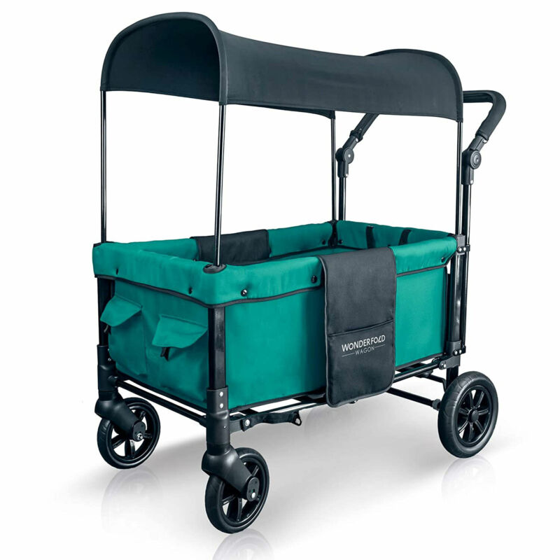 WONDERFOLD 2 Passenger Push Folding Stroller Wagon with Canopy, Teal Green(Used)