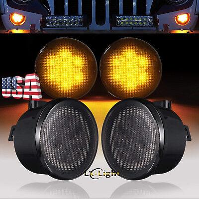 Pair Smoke Lens LED Turn Signal Replacement Light for 2007-2017 Jeep Wrangler JK