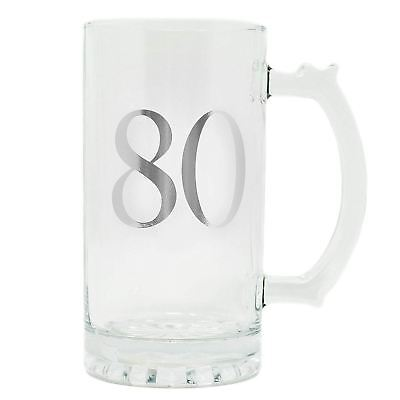 Celebrate in Style 80th Birthday Beer Tankard Large Pint Glass Gift Boxed Ideas