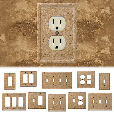 Купить Tumbled Travertine Faux Textured Stone Noce Resin Switch Wall Plate Outlet Cover