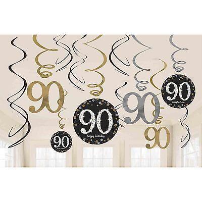 Hängende Wirbel Schwarz Silber Gold Party Dekoration Alter (90 Th Geburtstag)
