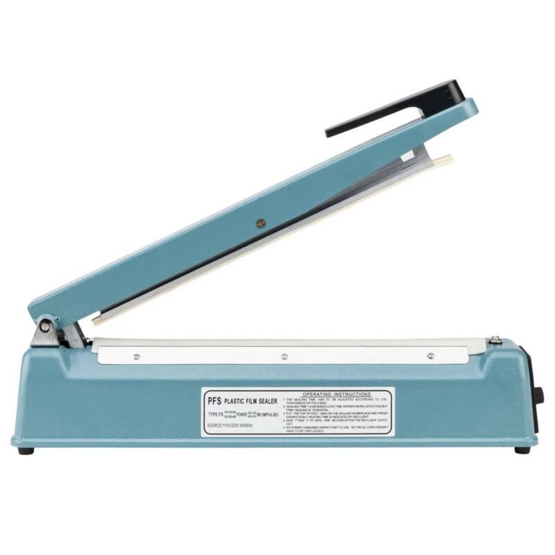 "12"" Impulse Sealer Manual Heat Sealing Machine Poly Tubing Plastic Bag w/ Teflon"