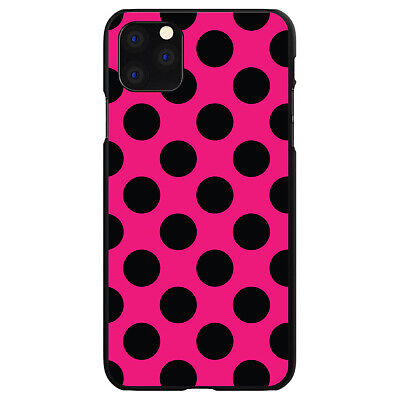 Hard Case Cover for Apple iPhone (Pick Model) Black & Hot Pink Polka Dots Hot Pink Hard Case Cover