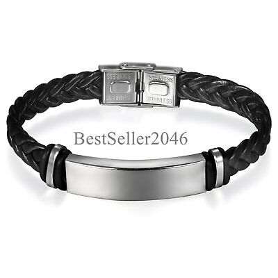 Personalized Men Unisex Silver Stainless Steel ID Black Leather Braided (Black Leather Id Bracelet)