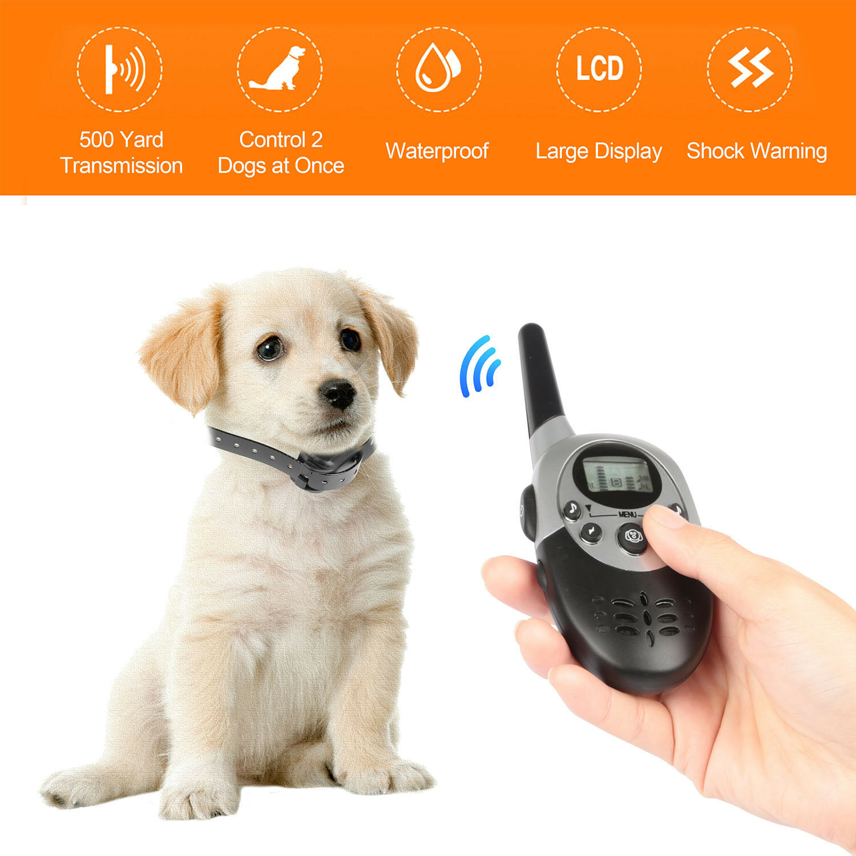 Pet Dog Waterproof Training Collar Electric Shock LCD Remote