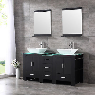 "Bathroom 60"" Double Solid Wood Vanity Cabinet Ceramic Sink w/ mirror & Faucet"