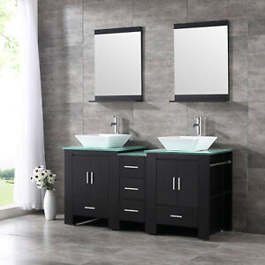 Bathroom 60 Double Mdf Wood Vanity Cabinet Ceramic Sink W Mirror Faucet