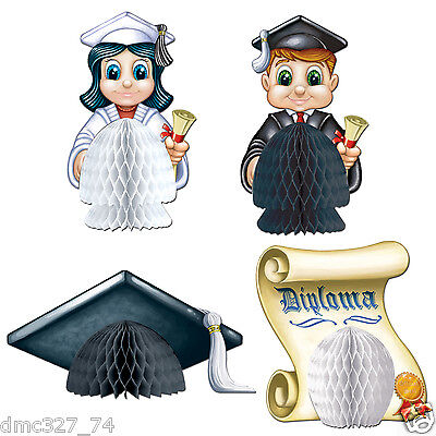 4 GRADUATION Party MINI Table Tissue Decorations PLAYMATES Graduates Cap Diploma - Graduation Caps Decorated