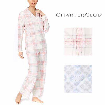 Charter Club Womens 2-Piece Printed Fleece Long Sleeve Pajama Set