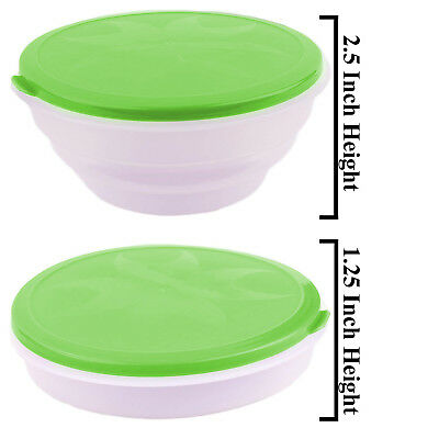 Portable Green Travel Collapsible Foldable Food & Water Bowls Dish Cat Dog Bowl