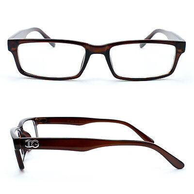 Classic Brown Fashion Clear Lens Non Prescription Glasses with Temple (Mens Non Prescription Fashion Glasses)
