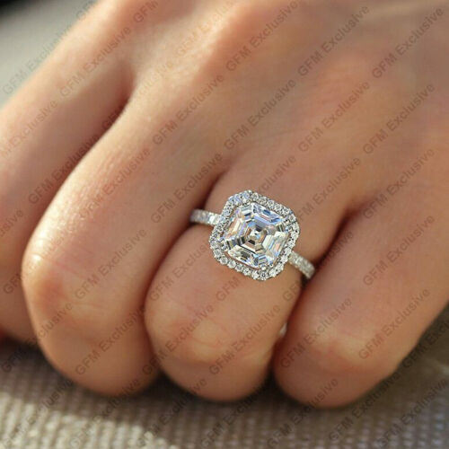 2.5ct Asscher Cut Def Colorless Moissanite Halo Engagement Ring 14k White Gold