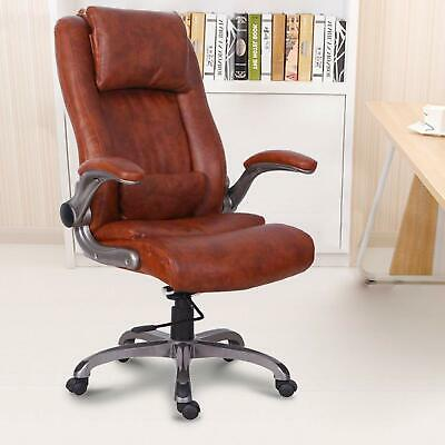 High Back Leather Office Chair Thick Padding Computer Desk Chair Brown