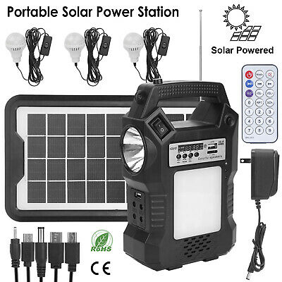 Solar Panel Power Generator Kit Portable Battery Pack Power Station w/ 3 Bulbs