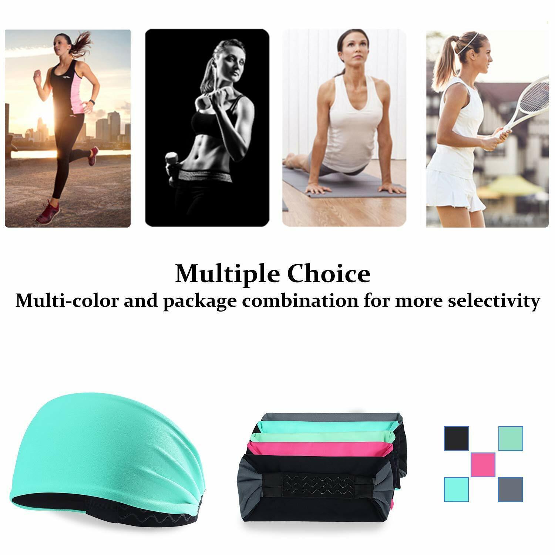 Wide Headband Women Men Yoga Sports Sweatband Hair Band Head Wrap Black Turban Clothing, Shoes & Accessories