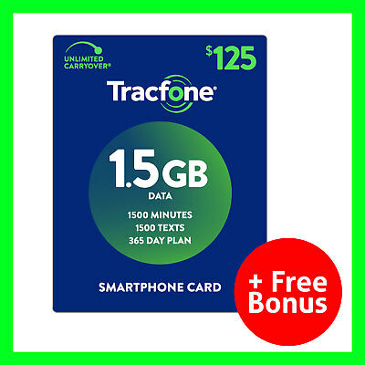 125 Cellular Phone Accessories (TracFone 1 Year $125 Plan Refill Reload 1500 Min/Text/MB SmartphoneOnly + Bonus )