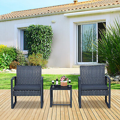 3PC PE Rattan Wicker Table & Chair Set Cushioned Outdoor Patio Garden Furniture
