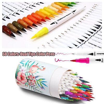 60PCs/Set Soft Brush Pen Sketch Markers Watercolor Pen Set Graphic Drawing - Brush Pen Set