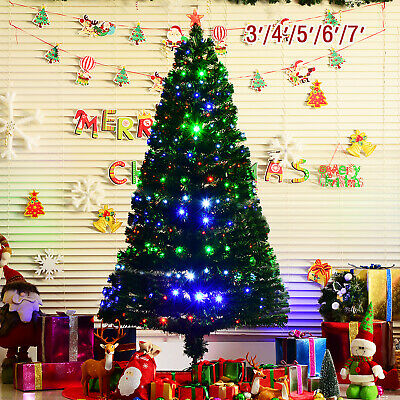 3/4/5/6/7ft Pre-Lit Artificial Christmas Tree Led Lights Fiber Optic Decorations ()