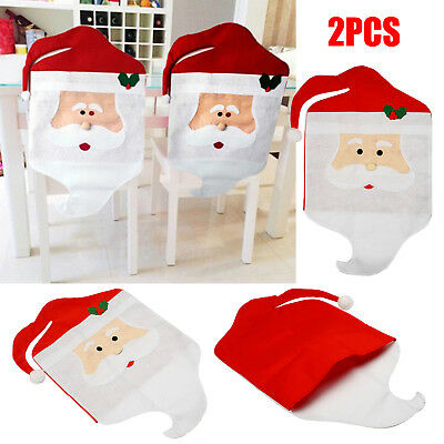 Christmas Table Decoration (2/4/10/20Pcs Red Santa Claus Christmas Decor Table Decor Dinner Chair Cover LOT)