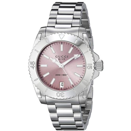 Gucci Women's Dive Pink Dial Stainless Steel Swiss Quartz