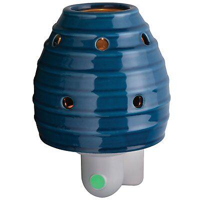 Night Light Fragrance Warmer: Blue Striped Design