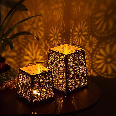Decorative Flower Cut Metal Lantern Set - Sets of 2 Candle Holder
