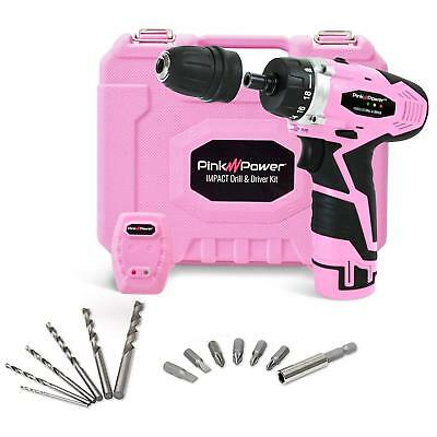 Pink Power PP121ID 12V Lithium Ion Compact Cordless Impact Drill Driver Tool Kit