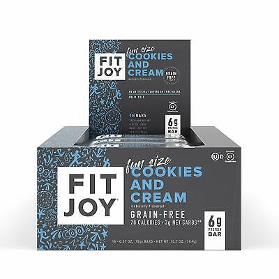 FitJoy Grain & Gluten Free Fun Size Mini Protein Bars, Cookies and Cream - Gluten Free Grains