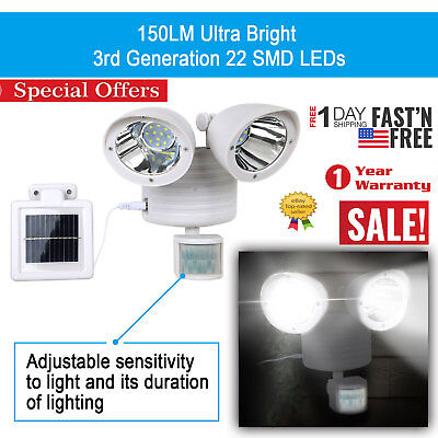 Solar Power Motion Sensor Light 22 LED Dual Head Security Floodlight Outdoor New