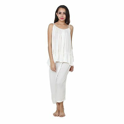 Girls Women's Off White Rayon Cocktail Top and Capri Set For Ladies Night Wear - Off White Dresses For Girls