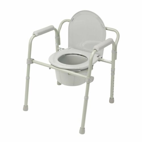 Drive Folding Bedside Commode Medical Chair Toilet Portable Steel Bathroom Seat Bucket