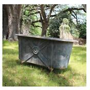 Claw Foot French Tin Garden Metal Bath Tub Stunning Aged Finish