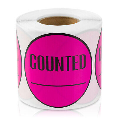 Counted Stickers Inventory Control Blank Store Labels 2 Round 2pk Pink
