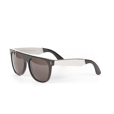 Retrosuperfuture Flat Top Francis Black/Silver Large Sunglasses SUPER-770 57mm (Super Sunglasses Flat Top Large)
