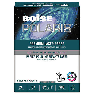 Boise POLARIS Premium Laser Paper 3-Hole 97 Bright 24lb 8 1/2 x 11 White Boise White Laser Paper