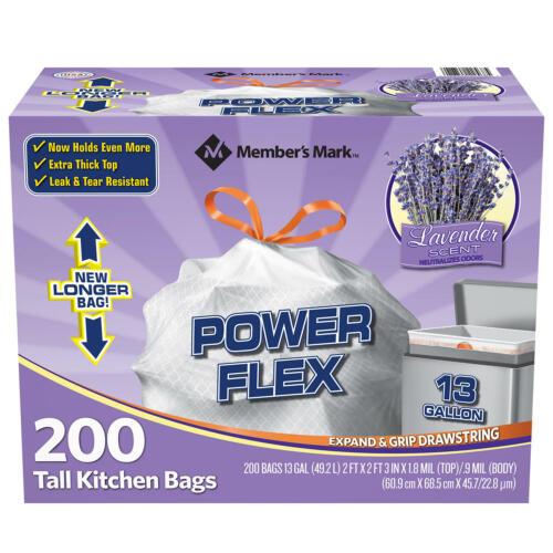Power Flex Tall Kitchen Drawstring Trash Bags 13 gallon Lavender 200 count