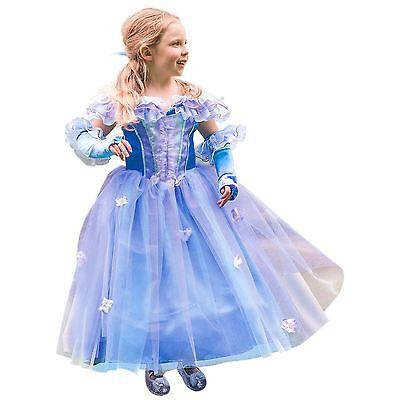 Deluxe Abendkleid Mädchen Prinzessin Blume Blau Französisch Aurora Fee Kostüm