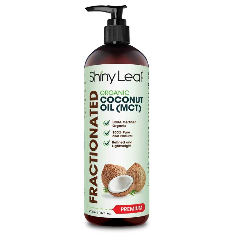 Organic Fractionated Coconut Oil (MCT) 100% pure for Hair, Skin & Massage 16oz